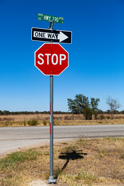 Giddings, Texas - STOP sign, Hwy 290 & 243 Cross roads, 3-10-2011 (IMG_3855) 4k