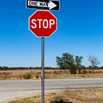 Giddings, Texas - STOP sign, Hwy 290 & 243 Cross roads, 3-10-2011 (IMG_3855) 4k