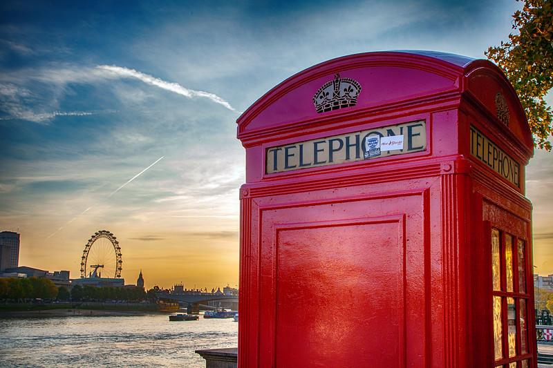 London - River Thames and Phone Box, 23-10-2011 (IMG_5279) HDR Efex Pro 2 - Deep 1 4k