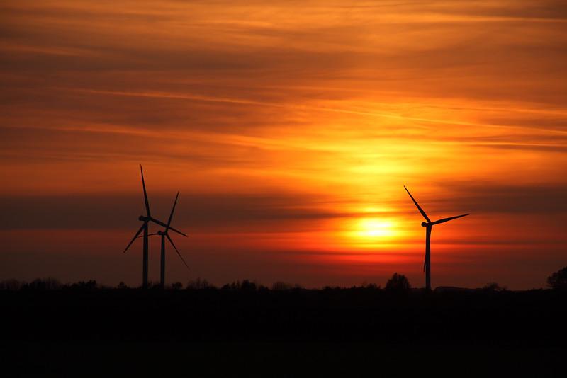 Lissett Windfarm at Sunset