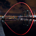 Gateshead Millennium Bridge (Red Uplighters)