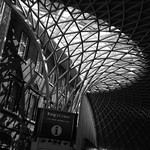Kings Cross Station Concourse Roof, 17-6-2014 (IMG_0828) B&W 4k