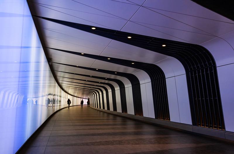 Kings Cross St Pancras One Light Tunnel, 17-2-2015 (IMG_9605) Blue Light 4k