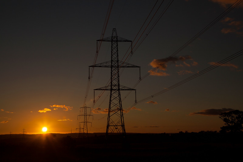 Shafton Pylons & Emley Moor at Sunset