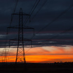 Shafton Pylons at Cloudy Sunset