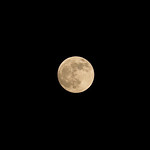 At 5 o'clock on the night of a blood moon, large in the sky, the moon shines over Grimethorpe on 20th January 2019