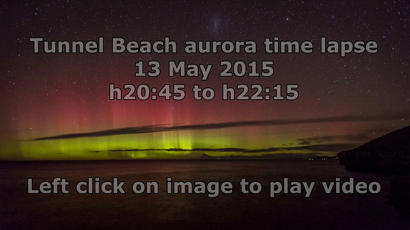 Aurora australis over Tunnel Beach. 13 May 2015.