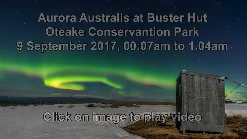 Aurora australis over Buster Hut, 9 September 2017. Oteake Conservation Park, Central Otago.