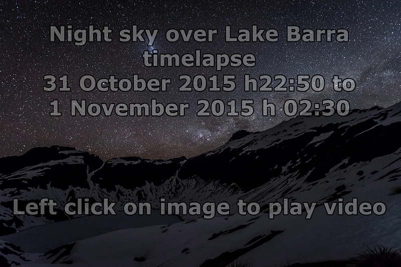 Night sky over Lake Barra and Mt Campbell - timelapse. Left click on image to play video.