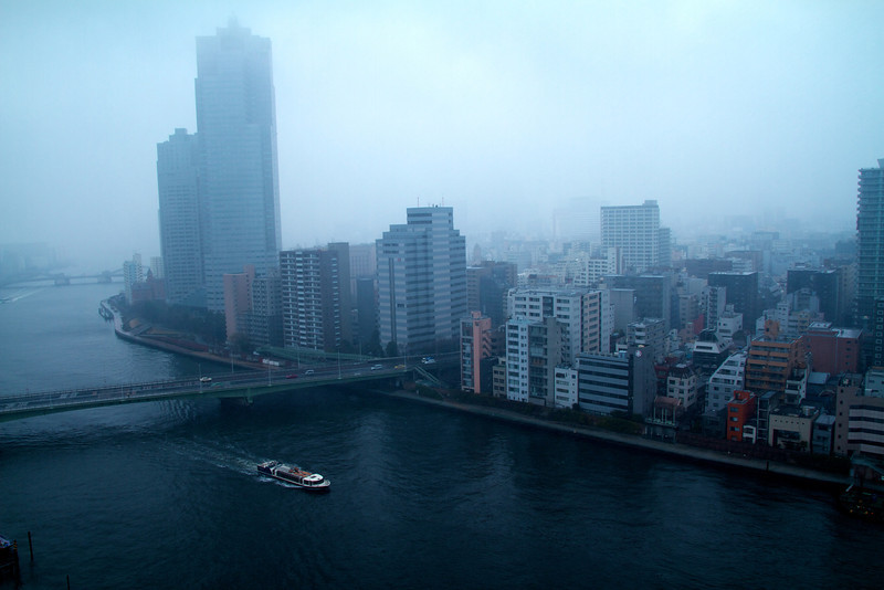 Foggy morning over Sumidagawa River in Tokyo