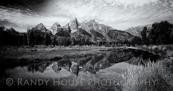The Grand Tetons from Schubacher's Cove  B/W. Wet Rocks adjustment