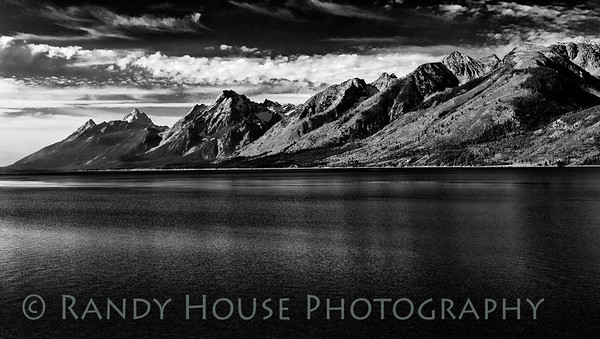 Grand Tetons from north side of the park looking across Jackson Lake. b/w