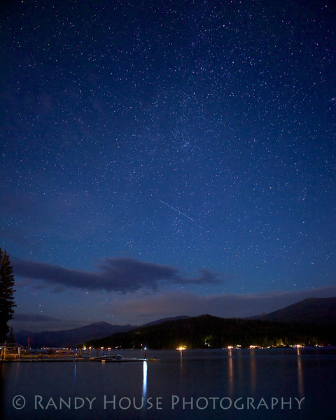 Stars Over Priest Lake w/ satellite moving across sky.