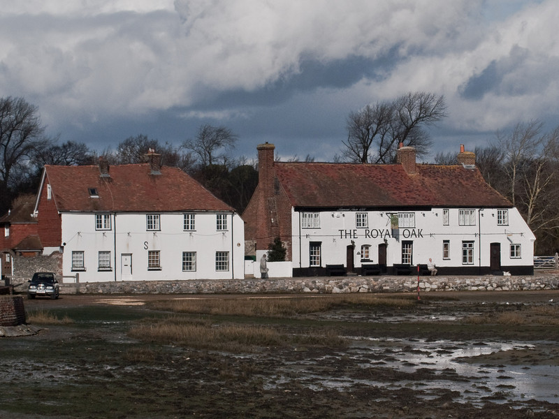 Langstone water front. Copyright Peter Drury 2010<br /> The Royal Oak public house was originally three cottages built in 1555 and converted to a Public House and licensed in 1700. There are tales that this public house was once the haunt of smugglers.