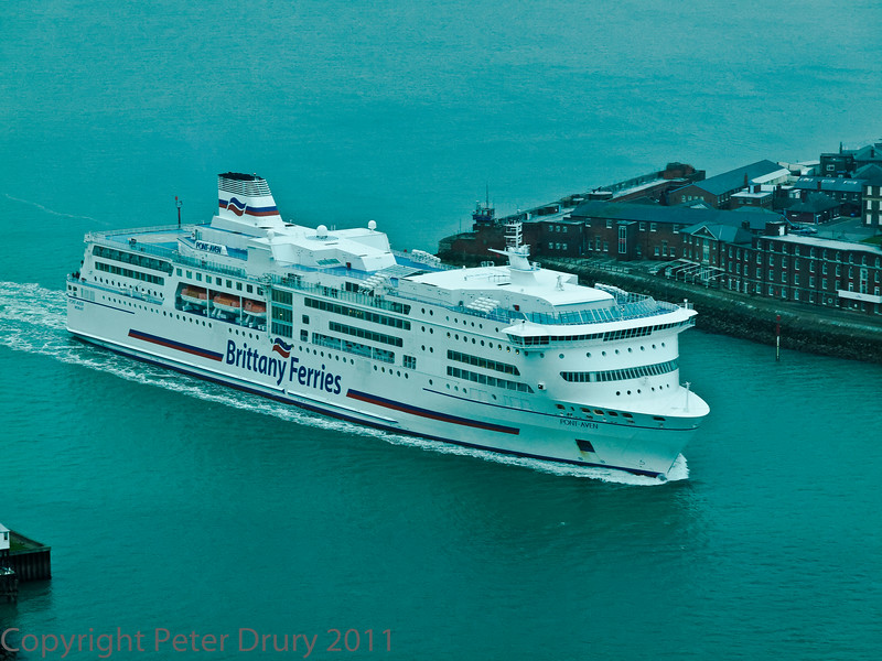 01 Mar 2011 Views from the Spinnaker Tower. Brittany Ferries, Pont Aven, passing through Portsmouth Harbour entrance.