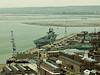 01 Mar 2011 Views from the Spinnaker Tower. HMS Ark Royal alongside the Quay in the Dockyard.