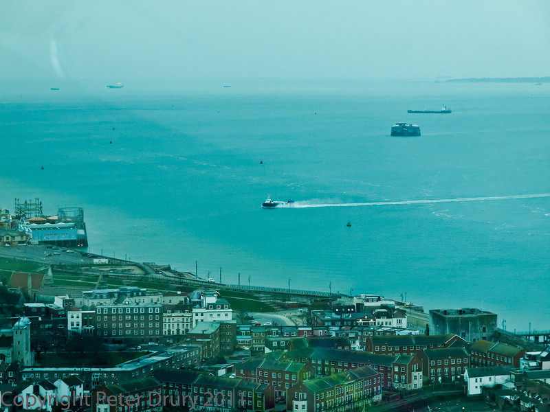 01 Mar 2011 Views from the Spinnaker Tower. IOW Hovercraft service heading for the landing on Douthsea front.