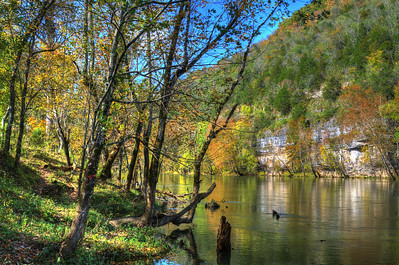 Fall reflections on the Caney Fork River in Tennessee
