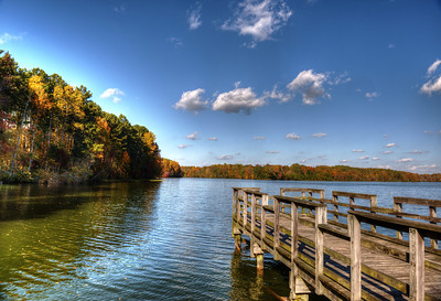 Fishing pier at Woods Reservoir in Tennessee on a clear fall day
