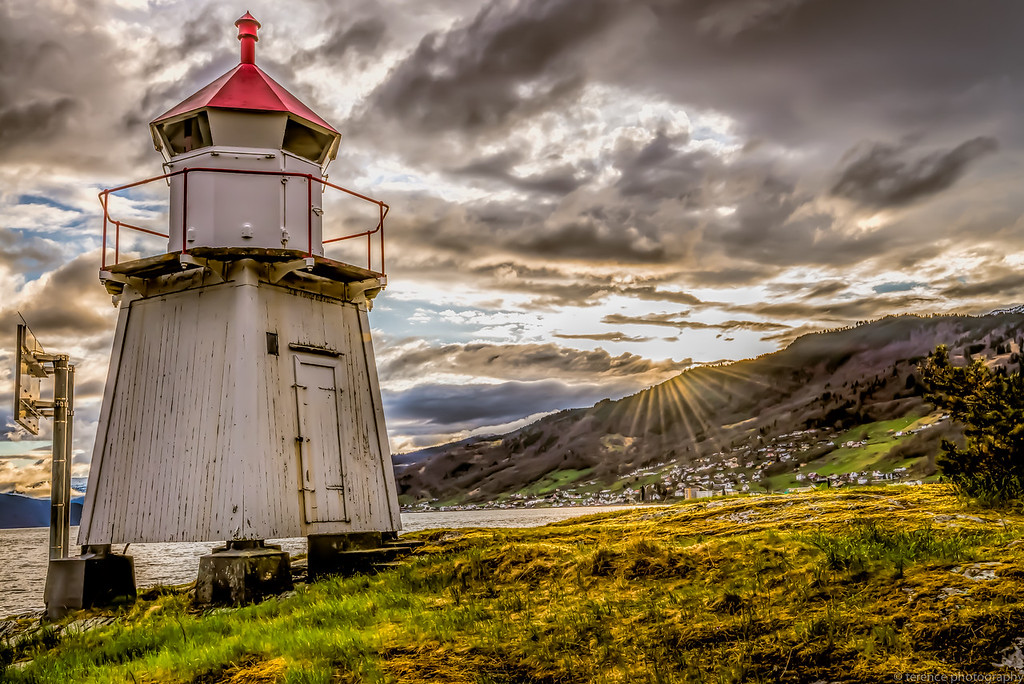 Sunset at the Lighthouse in Sognefjord, Norway