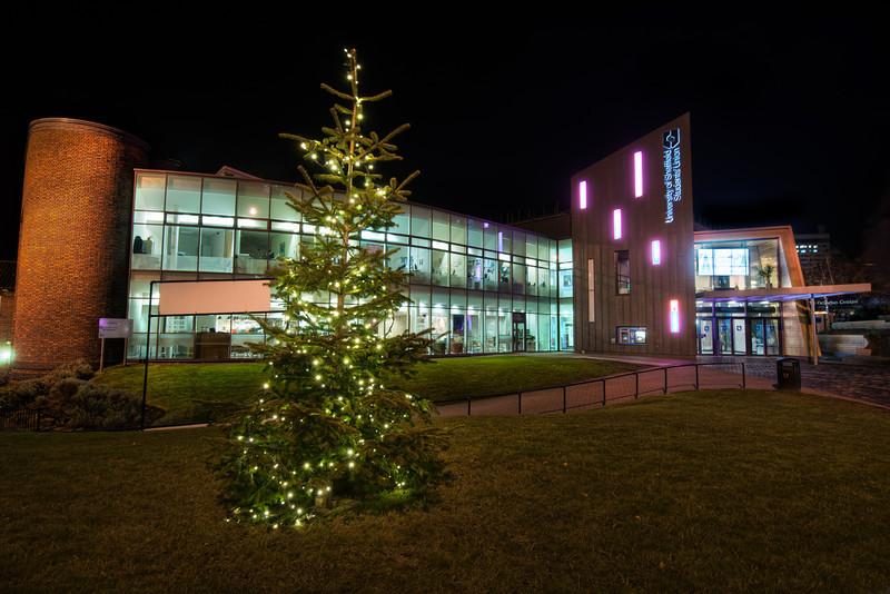 University-of-Sheffield-Students-Union-Christmas-Tree-Winter-at-Night-HDR