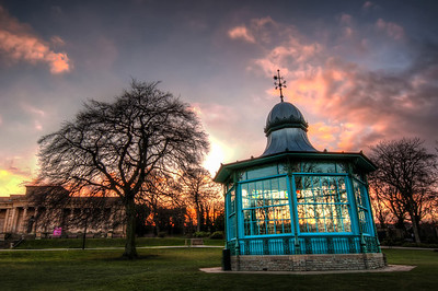 Sunset Band Stand and Weston Park Museum HDR - Weston Park, Sheffield, England, UK