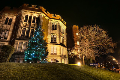 Firth-Court-University-of-Sheffield-Christmas-Tree-at-Night-Winter-HDR