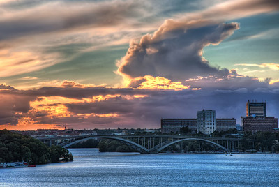 Stockholm-at-Sunset-towards-Langholmsgatan-from-Monteliusvägen-Sweden-HDR