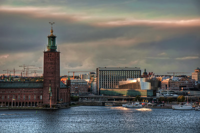 Stockholm-at-Sunset-towards-Stadshuset-City-Hall-from-Monteliusvägen-Sweden-HDR