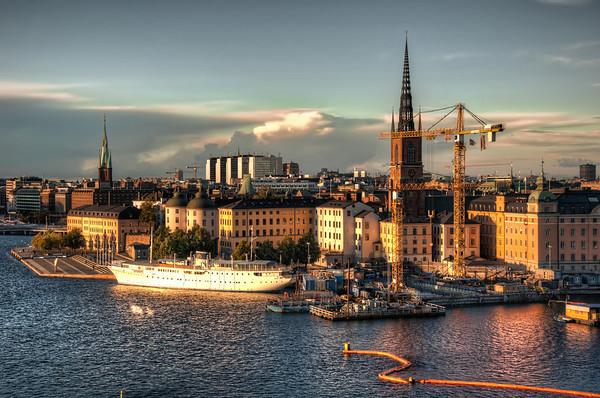Stockholm-at-Sunset-towards-Gamla-Stan-from-Monteliusvägen-Sweden-HDR