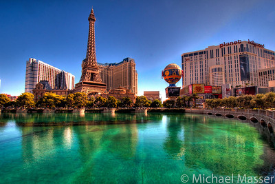 Reflections-in-Vegas-Paris-and-Planet-Hollywood-from-Bellagio-Las-Vegas-HDR