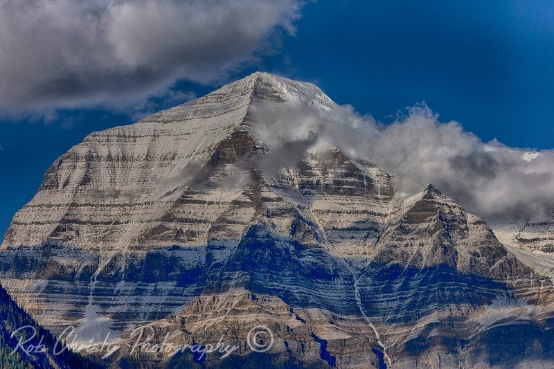 Mount Robson, British Columbia. 9843 ft at the summit. Mount Robson is the most prominent mountain in North America's Rocky Mountain range; it is also the highest point in the Canadian Rockies.<br /> RWC18216eHDR