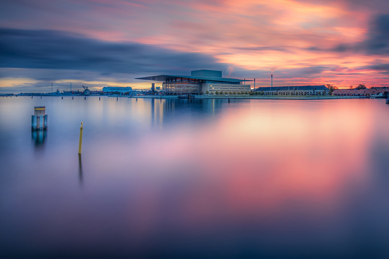 The Opera House of Copenhagen caught just before sunrise. It's a long exposure. Photo by: Jacob Surland, www.caughtinpixels.com