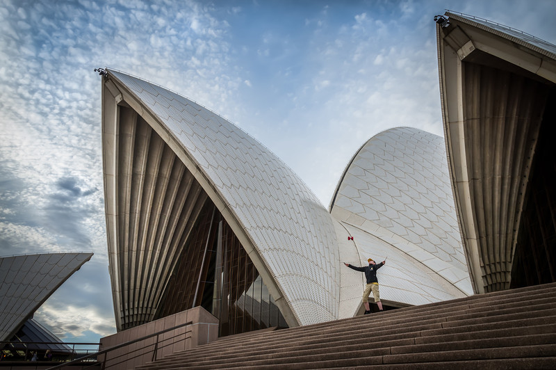 A Devils Game at Sydney Opera House  A boy playing with his diablo at the top of the stair in front of Sydney Opera House. Photo by Jacob Surland, www.caughtinpixels.com.