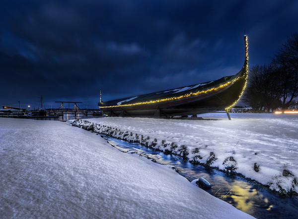 Viking ship lit in the Winter
