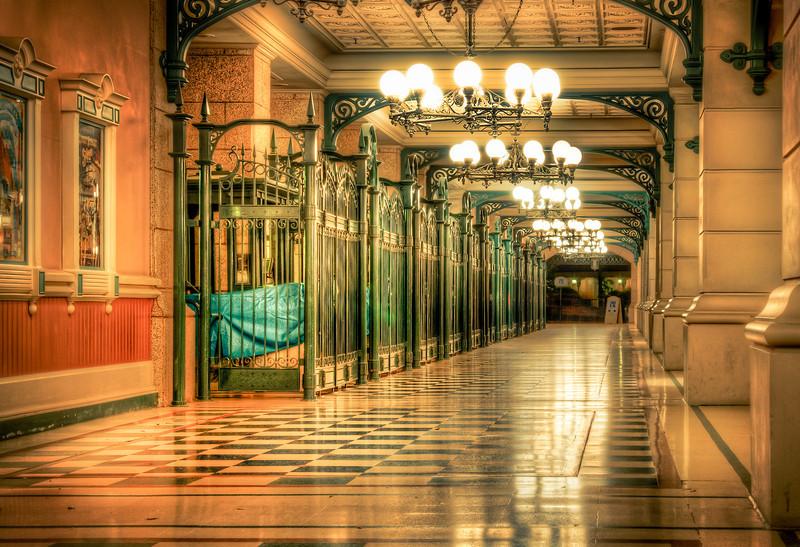 Entrance to Disneyland Paris after dark
