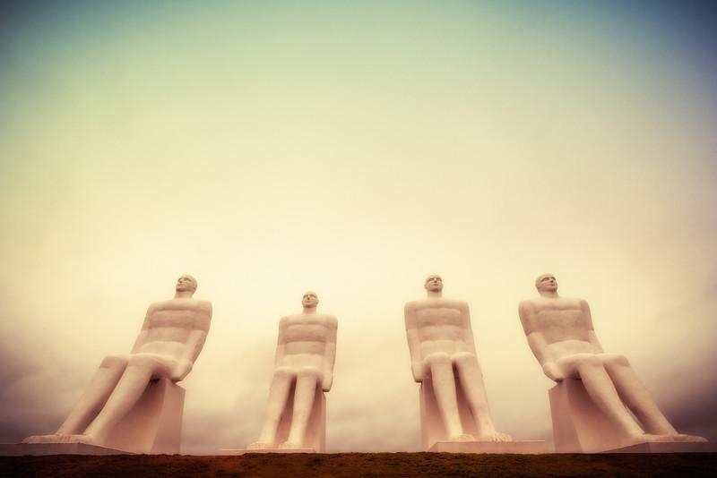 Four Men Glancing