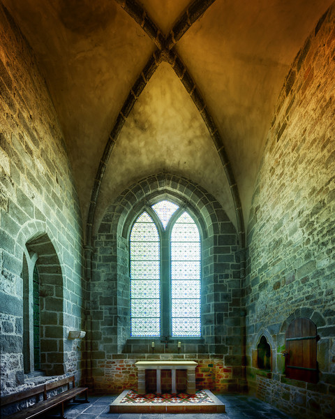 Mont Saint Michel in France is a huge fortified Monastery placed just of the shore of Brittany on an Island. This is a small chapel inside the monastery it self. The monastery is a master piece of architecture. Photo by: Jacob Surland, www.caughtinpixels.com
