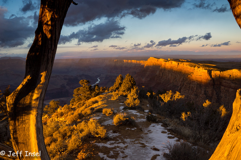 Golden light before sunset at Desert View of the Grand Canyon