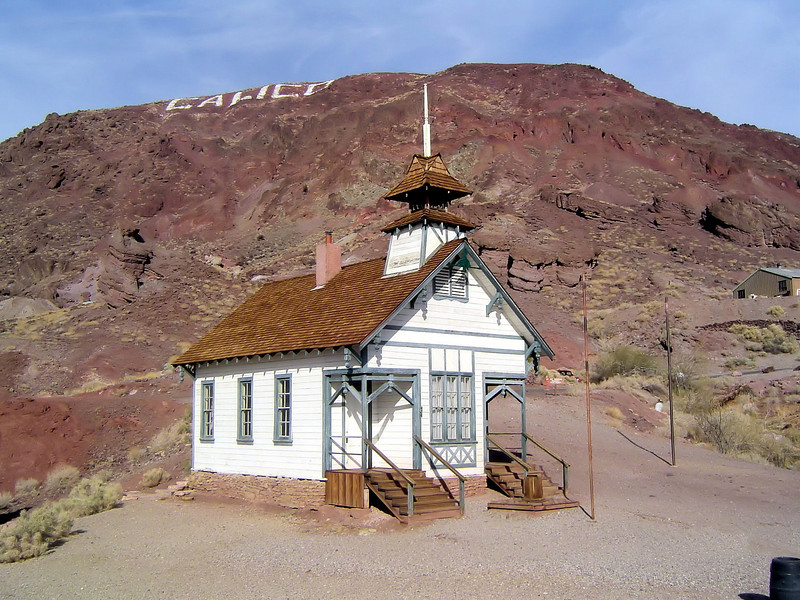 Old School house at Calico ghost town in California