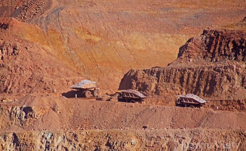 Morenci Mines, AZ Trucks with rock minerals