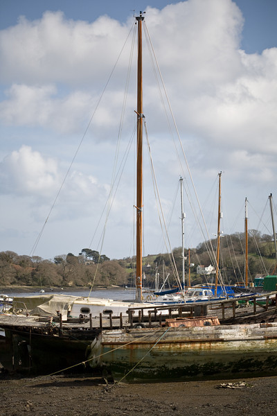 moored boats in Falmouth