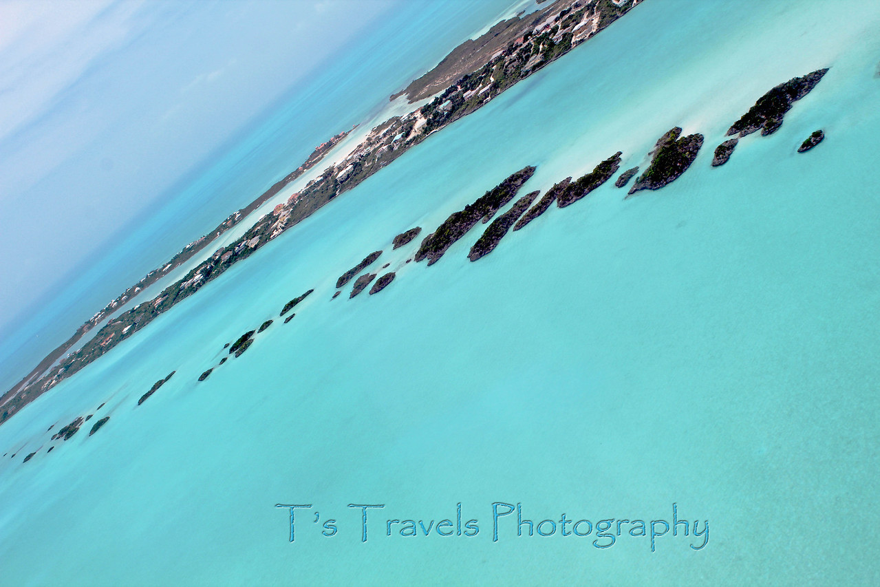 Aerial view over Turks & Caicos islands