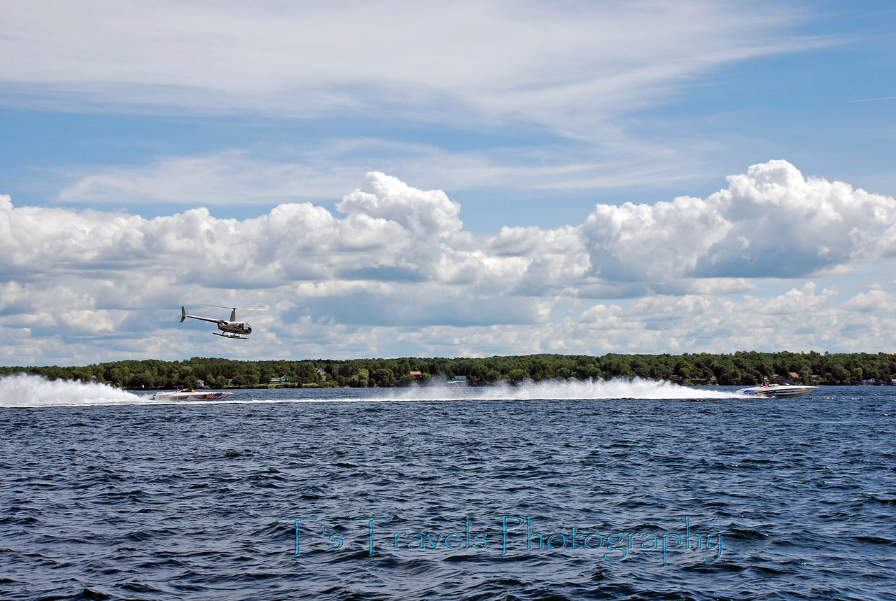 St.Lawrence River, boat race with helicopter following along, Canada '08