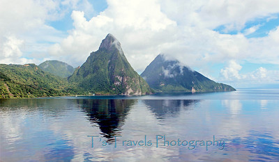 Pitons reflection from Jade Mountain, St. Lucia