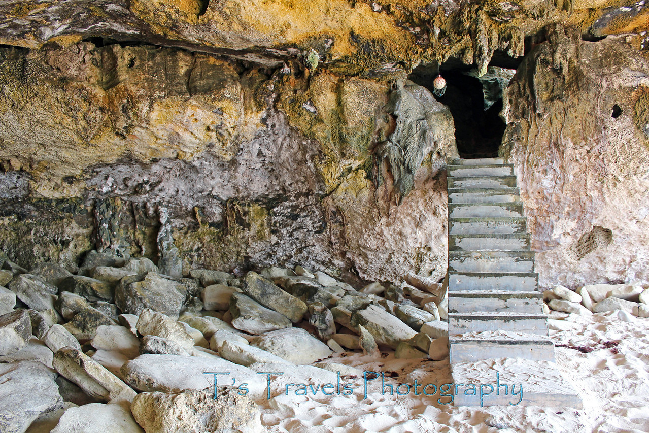 The journey below the cave that leads to the water at Mudjin Harbor, Middle Caicos, Turks & Caicos Islands