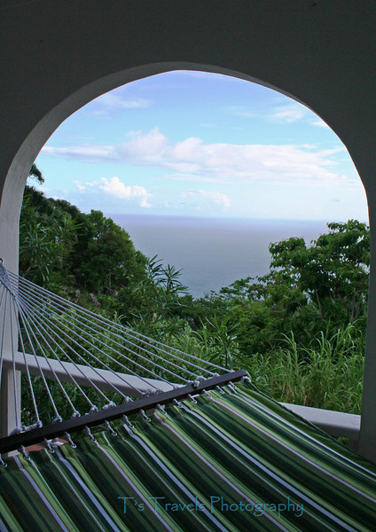From the patio of Juliana's Hotel in Saba, one of the Leeward Islands, Antilles