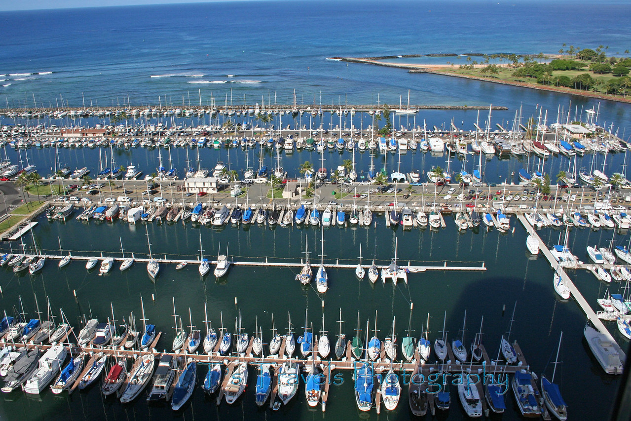 View of marina in Oahu, Hawaii