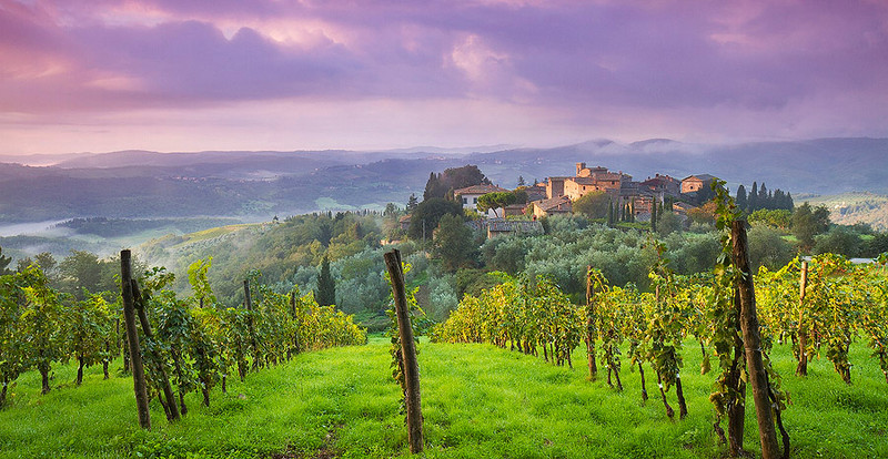 Morning sunrise at Volpaia, Radda in Chianti, Tuscany, Italy.
