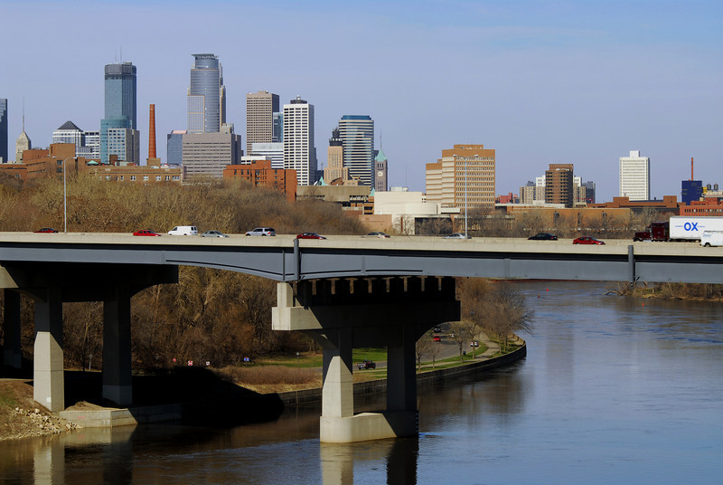 Interstate 94 with the Minneapolis skyline